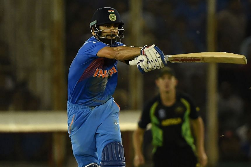 Virat Kohli playing a shot in India's six-wicket win over Australia in Sunday's World Twenty20 match. His superb unbeaten 82 off 51 balls that mixed classic strokeplay with raw power prompted comparisons with his famous compatriot Sachin Tendulkar.