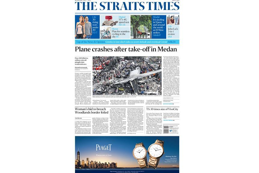GOLD: For overall newspaper design (above) with its fresh new look last year as part of The Straits Times' 170th anniversary celebrations in July.