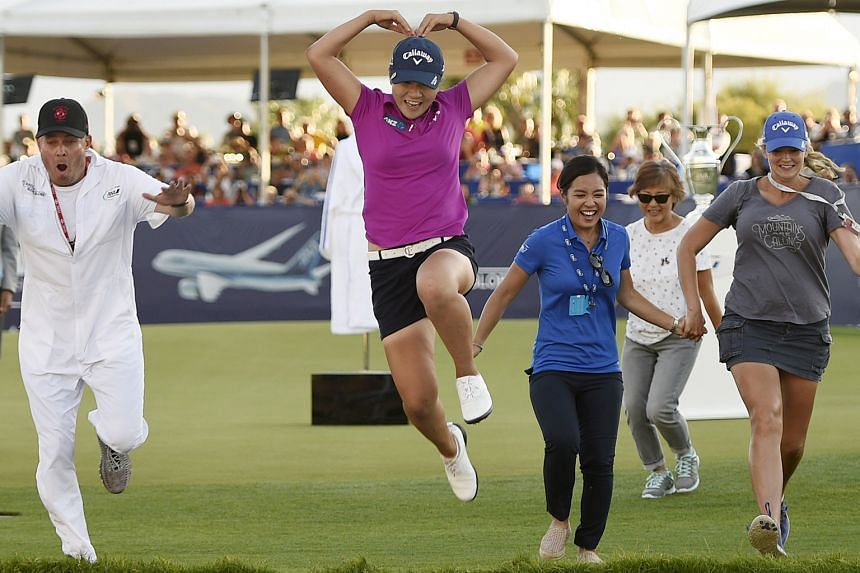 World No. 1 Lydia Ko jumps into Poppie's Pond after winning the ANA Inspiration at Mission Hills Country Club. The New Zealander followed up last year's Evian Championship victory with this win to make her the youngest golfer in 147 years to hold two