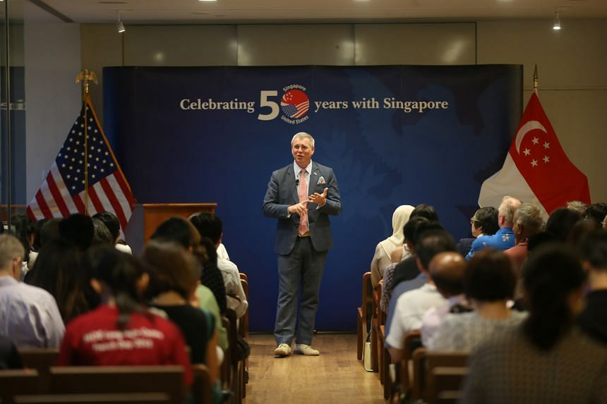 Mr Wagar speaking at last night's event to commemorate the 50th anniversary of diplomatic ties between the US and Singapore at Library@Orchard.