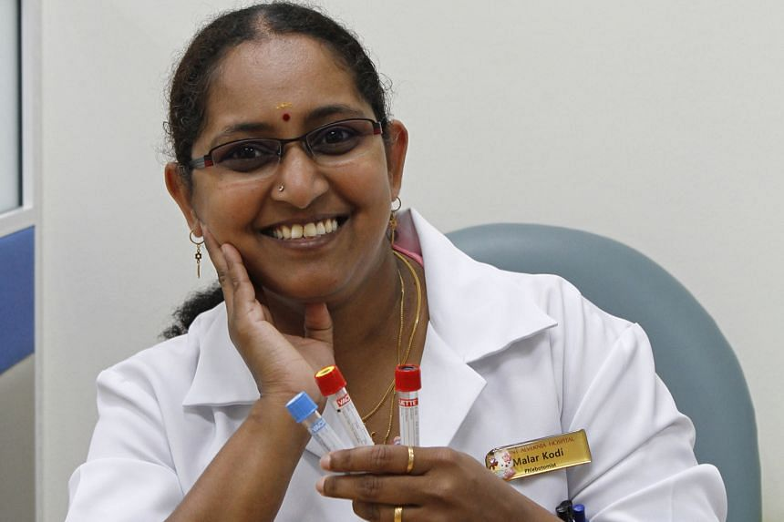 Ms Malar's advice to those who are afraid of having their blood taken is to look away and relax when it is being done, as being tense can cause the blood to backflow, making it more difficult for the phlebotomist.