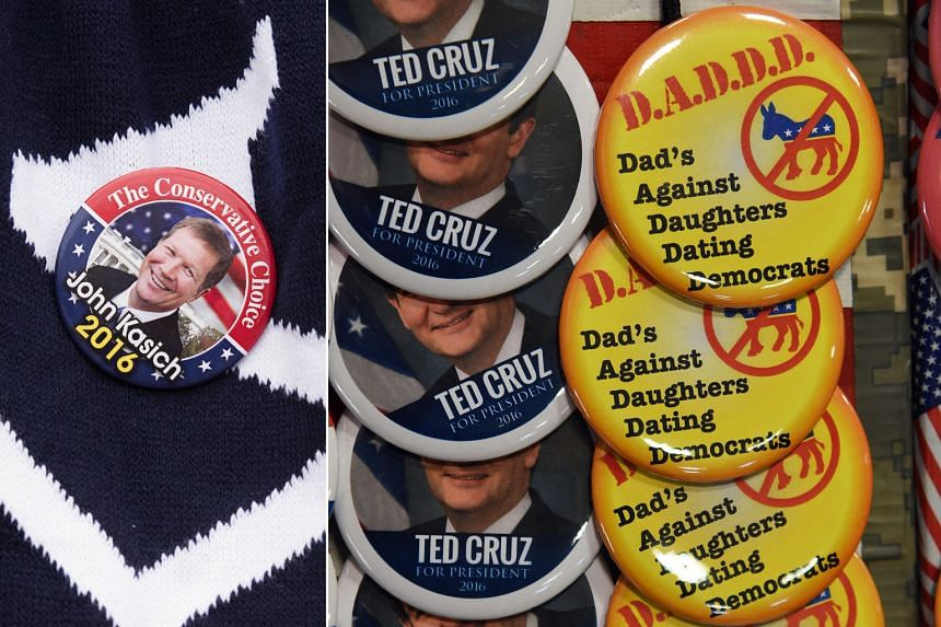 The US presidential candidates have come up with creative campaign buttons to get their message across to voters as they battle for their party's nomination ahead of this week's primary contests. And supporters are snapping up the buttons of (anti-cl