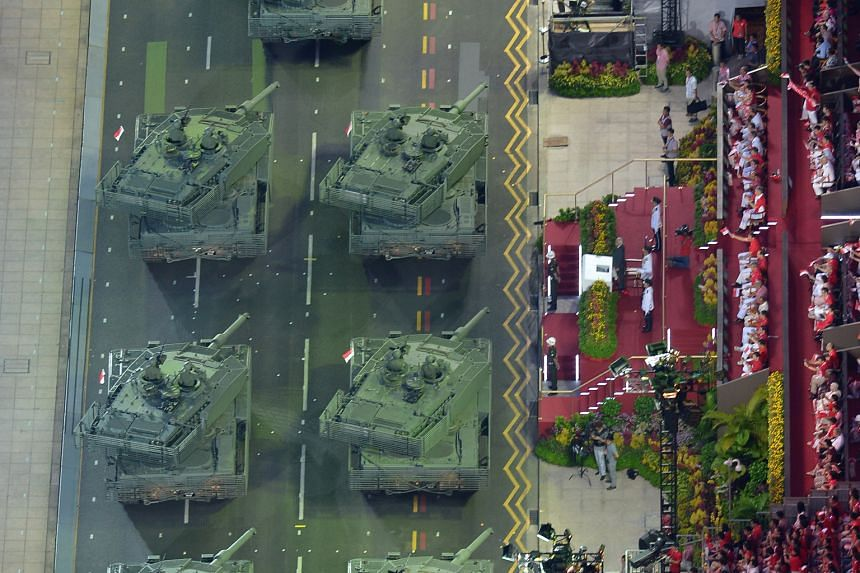 SAF military hardware that featured at last year's National Day Parade. New war machines that will be added to the SAF arsenal include a new armoured vehicle for combat support troops, Dr Ng said.
