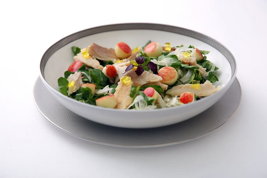 This dish of watercress salad and smoked trout with shaved fennel, apples and yuzu jelly in a maple vinaigrette is one of the items introduced by SIA as part of its Deliciously Wholesome meal programme.