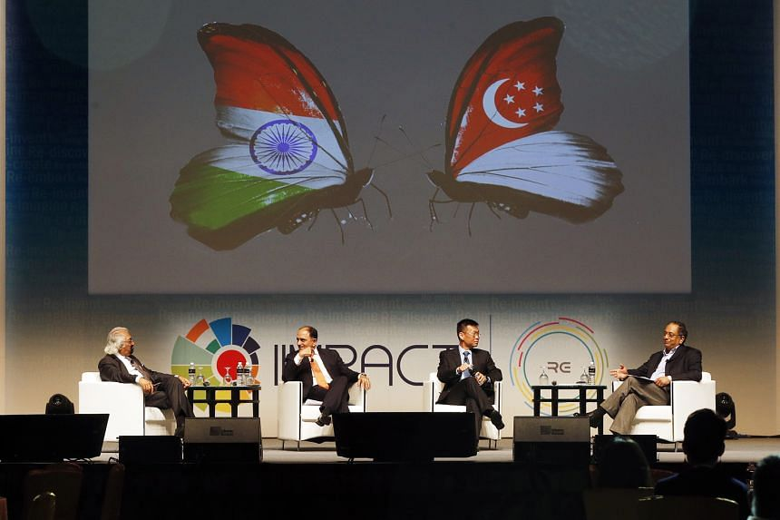 (From left) Mr Pitroda, Mr Srinivasan and Mr Yeoh sharing their views yesterday at the IIMpact thought leadership conclave, which was moderated by Mr Velloor, Straits Times associate editor.