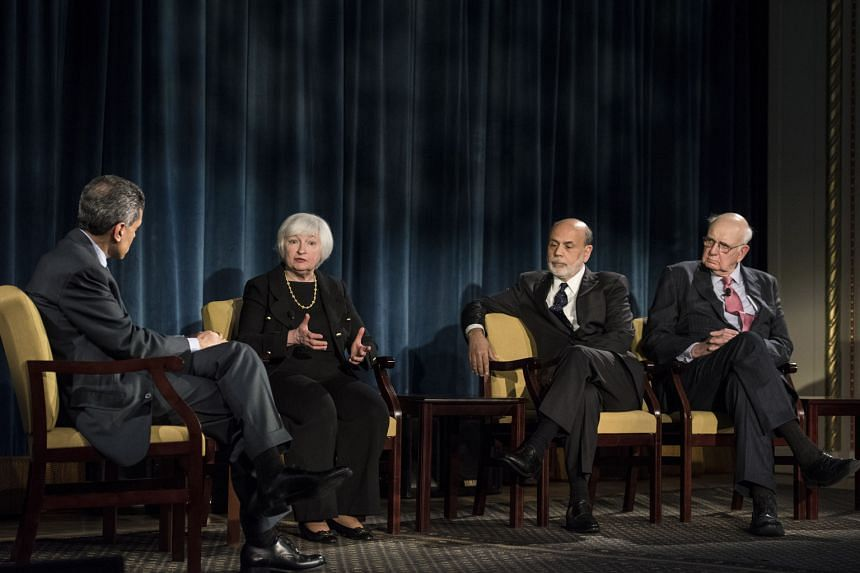 (From left) Moderator Fareed Zakaria with Dr Yellen, the US Federal Reserve chair, and her predecessors Ben Bernanke and Paul Volcker.