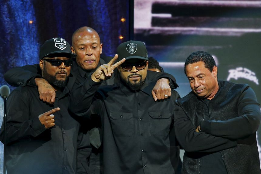 N.W.A's (from left) MC Ren, Dr Dre, Ice Cube and DJ Yella at last Friday's Hall of Fame induction ceremony.