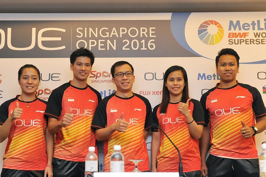 (From left) Liang Xiaoyu, Derek Wong, national chief coach Chua Yong Joo, Vanessa Neo and Danny Bawa Chrisnanta during a pre-tournament press conference at Mandarin Orchard ahead of the OUE Singapore Open.