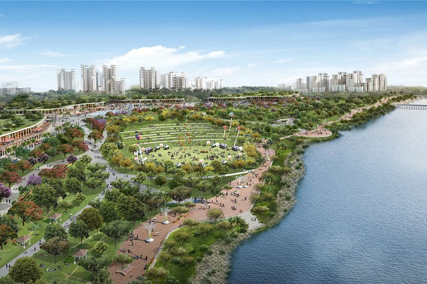 """An artist's impression of the revamped Woodlands Waterfront, which will have more landscaping and pockets of greenery. Residents in Woodlands Central will get a new town plaza, a """"sizeable space for various large-scale activities"""". Toa Payoh and Pasi"""