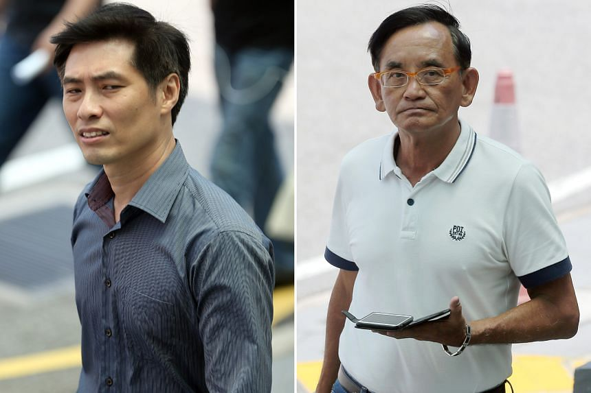 Cheo (left) allegedly cursed at Mr Tay (right) and challenged him to a fight. He is also accused of closing Mr Tay's van door on him, causing it to hit the 60-year-old businessman's forehead and hip.