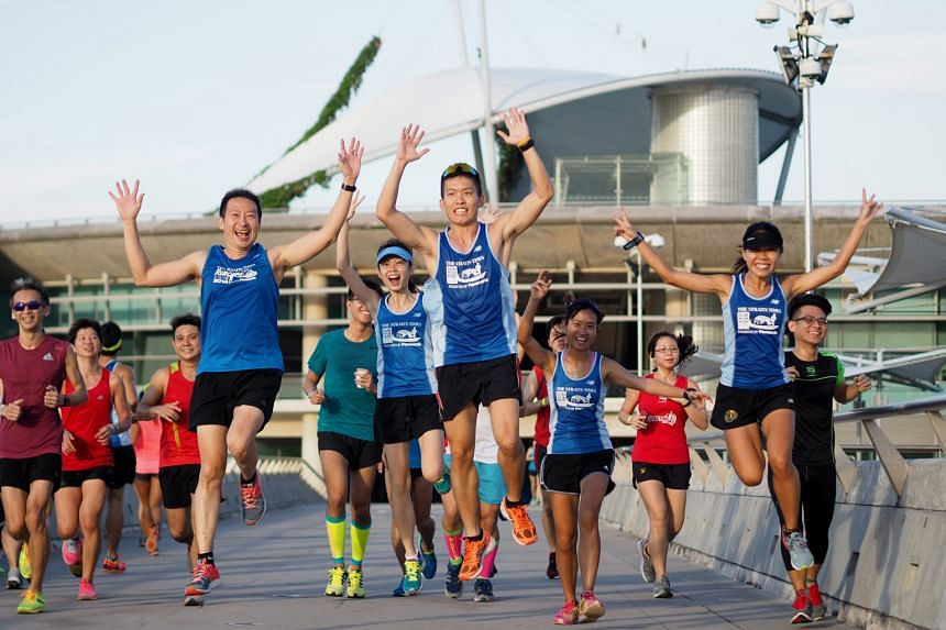 Runners enjoying the first training session for the Straits Times Run in the City 2016. The 8km run at the Sports Hub yesterday, exclusively for those taking part in the 18.45km category, attracted 70 participants. The next training run (12km) is on