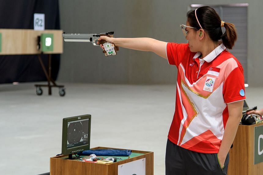Singapore's Teo Shun Xie finished third at the ISSF World Cup in Rio de Janeiro in the women's 10m air pistol. The event is the Olympic test event ahead of the Rio Games in August.