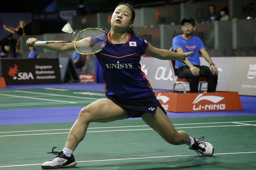 Superseries Finals champion and All-England winner Nozomi Okuhara during her loss to China's Sun Yu, the title holder and eventual finalist, in the round of 16 at last week's OUE Singapore Open. Japan head coach Park Joo Bong is concerned about his p