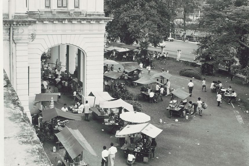 A 1960s scene of hawker stalls (top left) will be recreated at the Stamford Road museum for the Singapore HeritageFest. Mr S.V. Gunalan, 42, director of Springleaf Prata Place, and Ms Chang Su Hui, 29, service manager of Good Chance Popiah Eating Hou