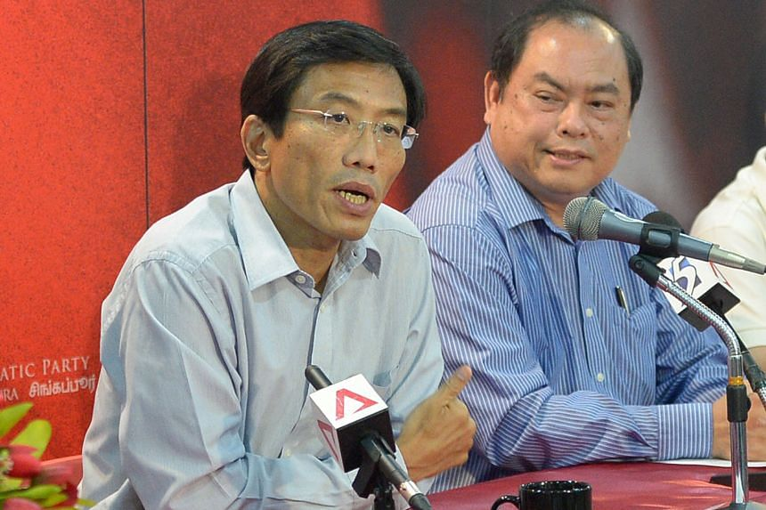 The Singapore Democratic Party's Dr Chee (left) with party vice-chairman John Tan. The SDP chief said he is confident and looking forward to the Bukit Batok by-election battle.