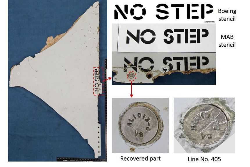The stencilling of key words and numbers on the wing part (far left) and stabiliser panel matches the font used by Malaysia Airlines, and a fastener provides evidence linking the part to the aircraft's production line.