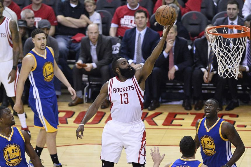 Houston shooting guard James Harden going to the basket against Golden State in Game 3. The Rockets' one-point win ensures they get a return trip to Oakland.