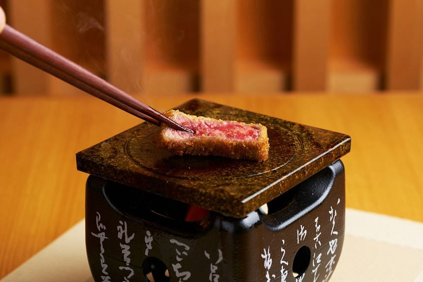 Gyu-katsu, premium beef fillet deep-fried for 60seconds at 210 deg c