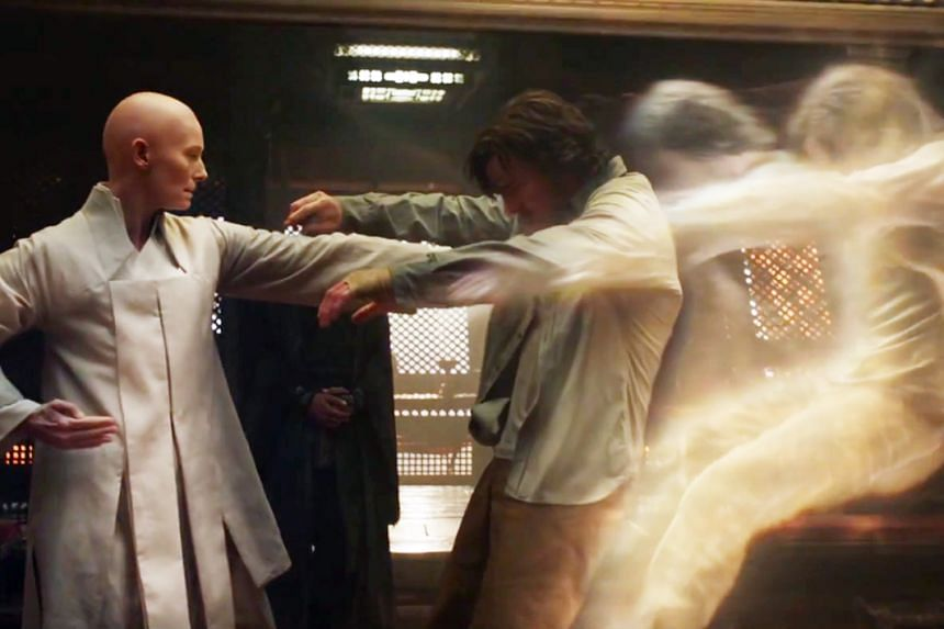 The trailer for Doctor Strange, starring Benedict Cumberbatch (right), presents Tilda Swinton (left) as the Ancient One, a Tibetan male mystic in the Marvel comic.