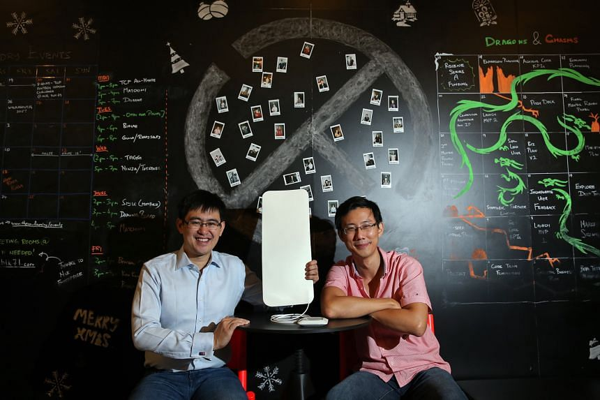 Juvo Labs founders Tan Toi Ngee (above) and Mah Chern Wern with the sleep and vitals monitor they developed. The start-up was among 71 which received help from A*Star to get going. The agency also seconded more than 300 researchers to some 160 compan