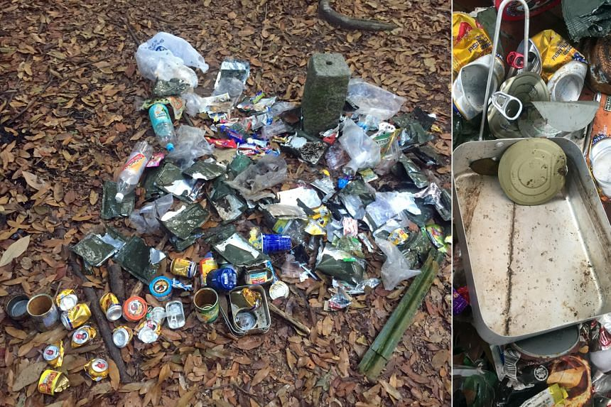 The trash found at the same clearing in a forest near Seletar Reservoir on April 10 (above) and April 27 (above, left) by regular visitor Debbie Fordyce.