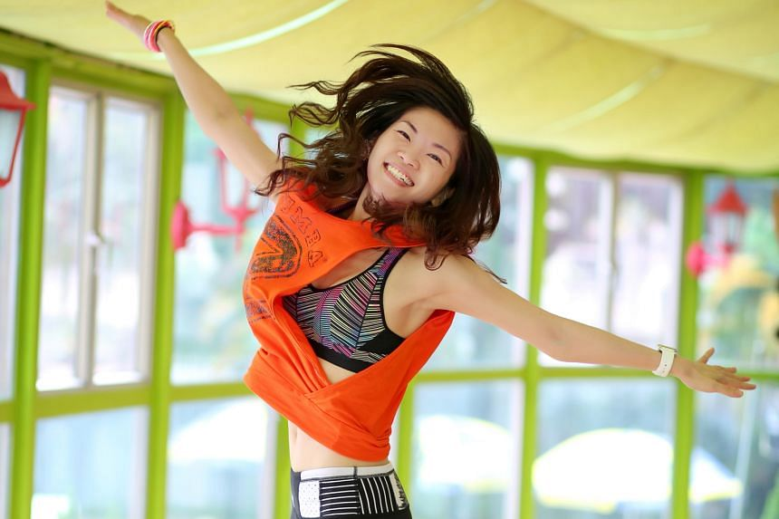 Ms Tan teaches Zumba five days a week, moves along with the students in her class and also does toning and other exercises while spending time with her family, including when watching TV.