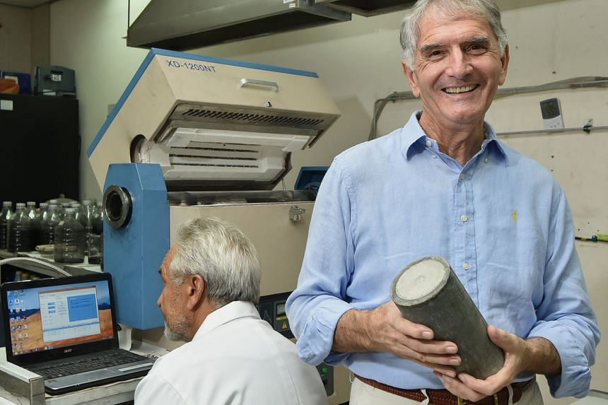 Mr Weber with a sample of special concrete. His firm uses carbon nanofibres (above) to create ultra-high-performance concrete.