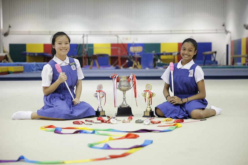 Rhythmic gymnasts Gayle Chee, 16, (left) and Megan Arty Prem, 15, from St Nicholas Girls' School, say ballet and dance formed the basis of their B Division success at the National School Games.