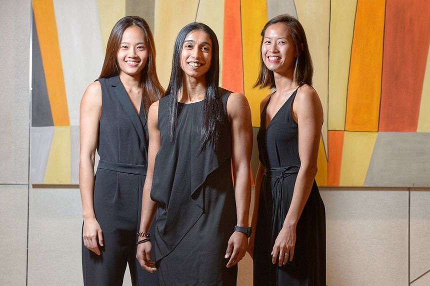 From left: Netball Hall of Famers Lin Qingyi, Premila Hirubalan and Chen Hui Fen say they are retiring from the Singapore national team to make way for new blood. They have won a slew of honours, including the Asian title and SEA Games gold.