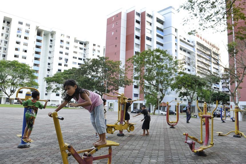 Children at a fitness corner in Bukit Batok Street 52. Residents in the constituency enjoy facilities such as pavilions, parks, fitness corners and covered walkways linking several blocks.