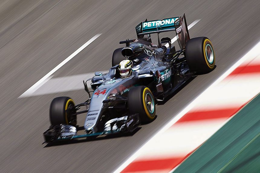 British driver Lewis Hamilton sets a blistering pace during qualifying at the Barcelona-Catalunya circuit. The Mercedes driver will start first on the grid in today's race.