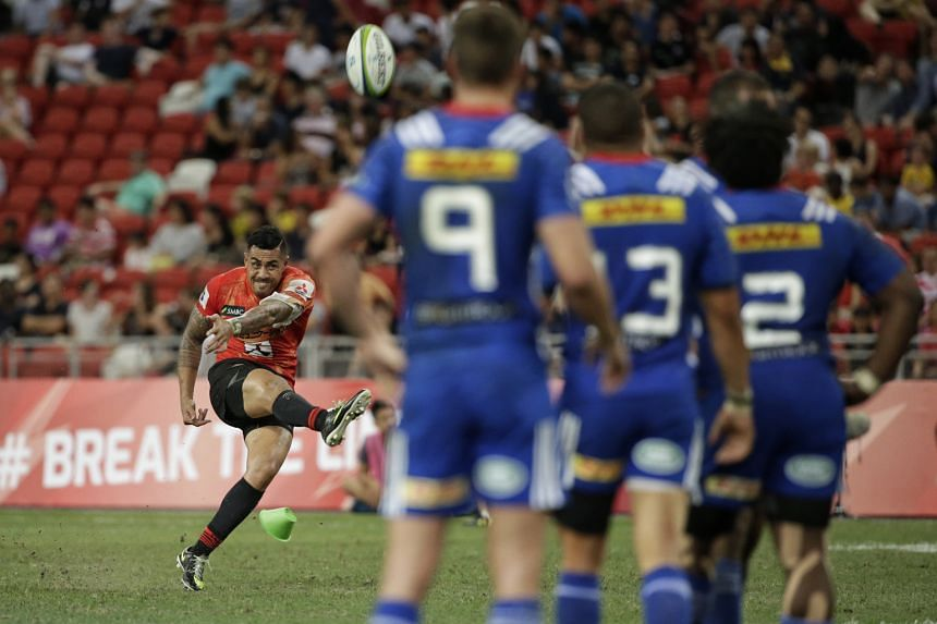 Sunwolves fly-half Tusi Pisi (left) scoring one of his four penalty kicks against the Stormers in the dramatic 17-17 draw at the National Stadium yesterday.