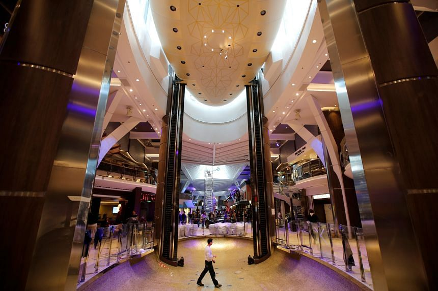 Views of the interiors of Royal Caribbean's new ship, Harmony of the Seas, during its delivery ceremony. Work on the ship started in September 2013 in Saint-Nazaire, France, and the ship was delivered to its owners on Sunday. It will embark on its of
