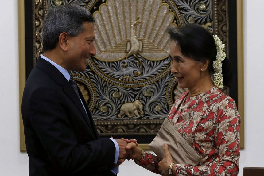 Dr Balakrishnan and Ms Suu Kyi at a joint press conference in Naypyitaw, Myanmar, yesterday.