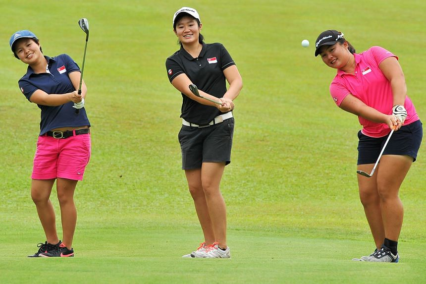 (From left) Jacqueline Young, Sarah Tan and Callista Chen practising at Singapore Island Country Club. Callista, in particular, is upbeat about her chances at the 27th Singapore Ladies Amateur Open as it is on her home Keppel Club course and the long