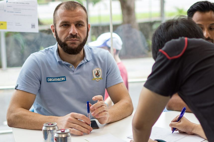 Captain Fahrudin Mustafic, at the Pentagon Football Academy launch, will be the Stags' assistant manager cum player.