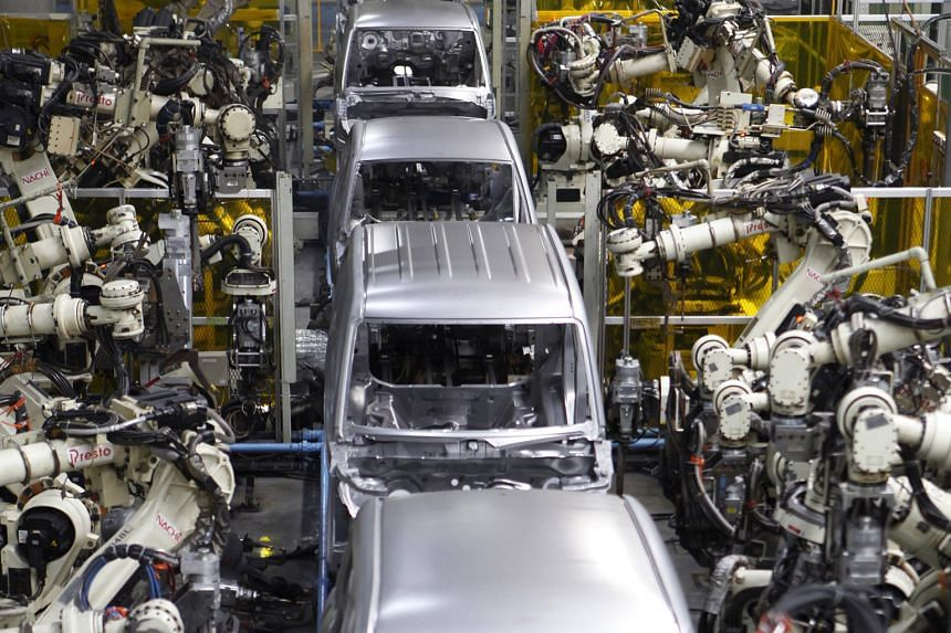 Robots assembling the main body of a vehicle at Daihatsu Motor's Kyushu Oita (Nakatsu) No.2 Plant in Japan. The use of new innovations and technologies, from robotics and the Internet of things to the emergence of virtual reality, will be the decisiv
