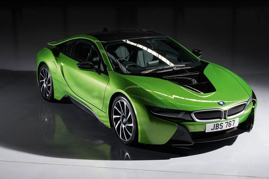 BMWis expanding the palette of its i8 hybrid sports car. New colours include Java Green (above), Speed Yellow, Solar Orange, Twilight Purple Pearl, Frozen Grey, Frozen Black, San Marino Blue and Grigio Telesto Pearl.