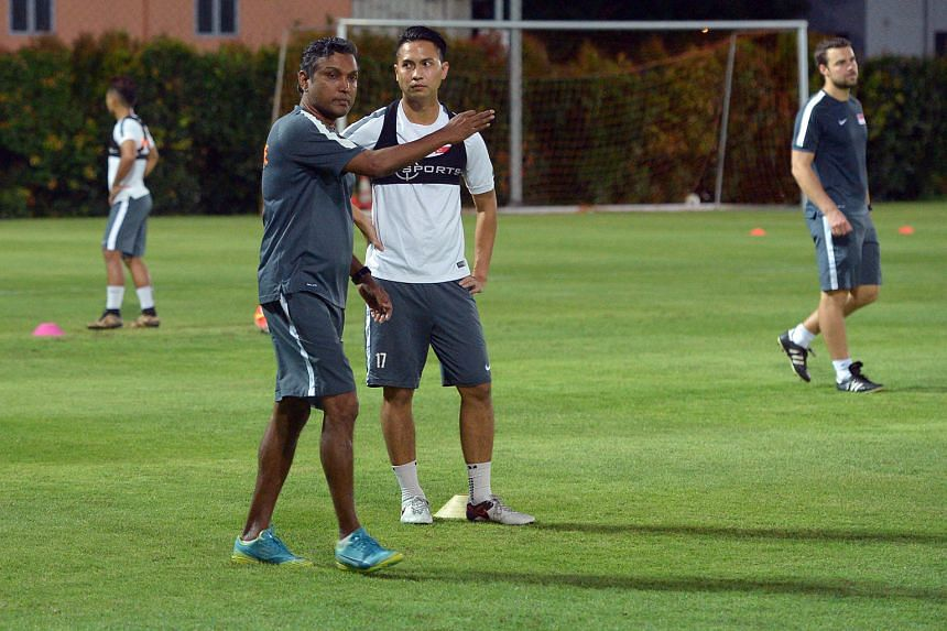 """Sundram together with national captain Shahril Ishak at his first training session yesterday, after being appointed national coach. """"With social media these days and the expectation of the fans, everybody has their views. It won't be an easy role but"""