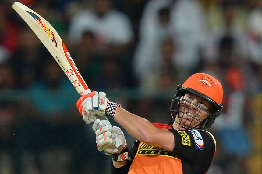 Sunrisers Hyderabad captain David Warner on the way to top-scoring for his side with 69 in 38 balls in the final against Royal Challengers Bangalore on Sunday.