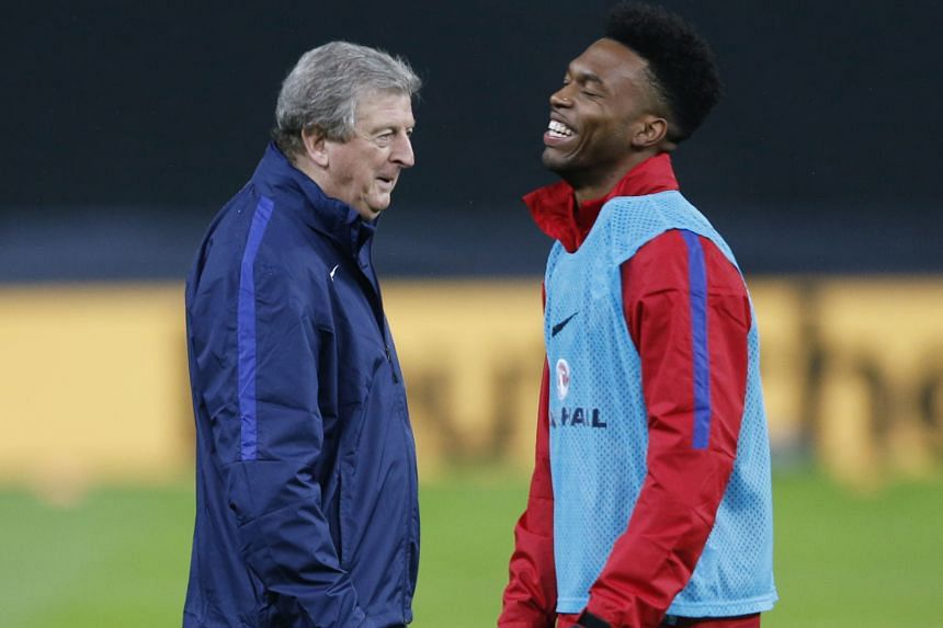 England manager Roy Hodgson and Daniel Sturridge during a training session in Berlin last week. Sturridge, who began the Euro 2016 qualifying campaign as England's first-choice striker, is running out of time to prove his fitness.