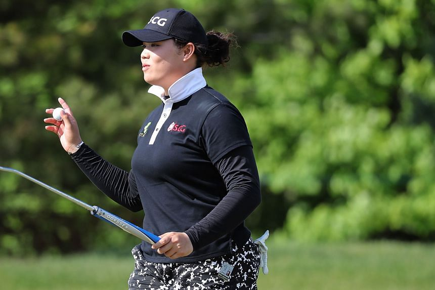 Thai star Ariya Jutanugarn acknowledging fans after making her putt on the fourth green in the final round, in which she carded a 67 to win the Volvik Championship by five shots.