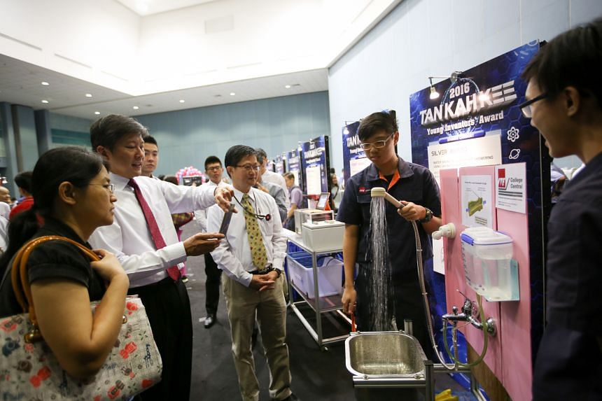 Several inventions stole the spotlight at this year's Tan Kah Kee Young Inventors' Award Presentation Ceremony held last Saturday at the Singapore Science Centre. Institute of Technical Education (ITE) College Central students Marcus Chan Yong Jie (s