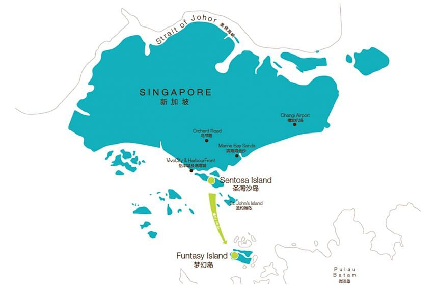 Funtasy Island Development manages and promotes the 328ha eco-theme park (above) on Pulau Manis, a cluster of six islets 3km off Batam. The original map (below) on the company's website shows both Singapore and the Indonesia-based resort in blue, spa
