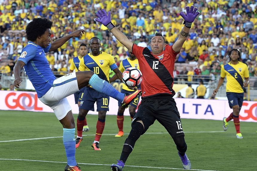 Brazil midfielder Willian shooting against Ecuador goalkeeper Esteban Dreer in their Copa America Group B opener. The Selecao had nine attempts at goal, with two finding the target. Despite 70 per cent possession, the five-time world champions failed
