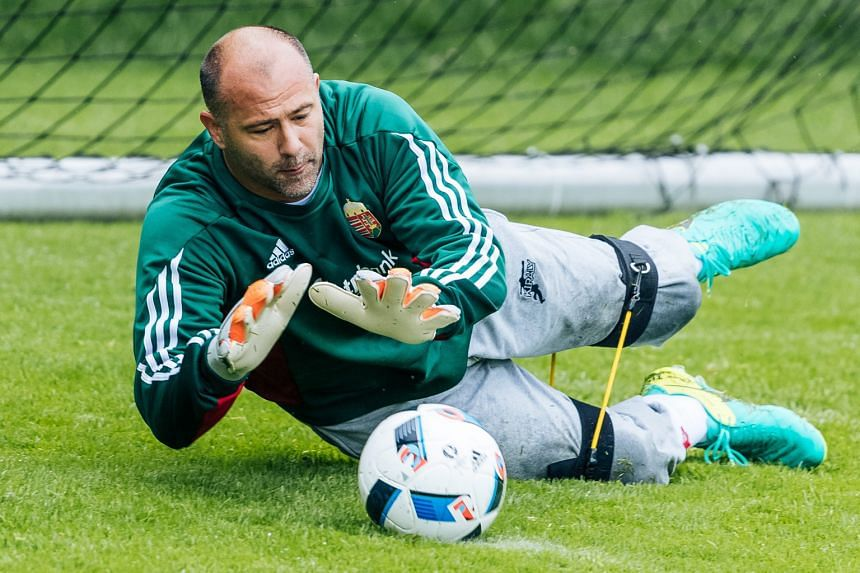 Hungary's most-capped player Gabor Kiraly, with 103 appearances for his country, in his trademark sweatpants during training. He is set to become the oldest player ever to feature at the European Championships.