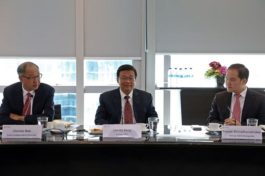 (From left) FCL lead independent director Charles Mak; current group CEO Lim Ee Seng, who is retiring on Sept 30; and group CEO-designate Panote Sirivadhanabhakdi at the briefing yesterday. Mr Panote's appointment is also a clear sign of the Thai tyc