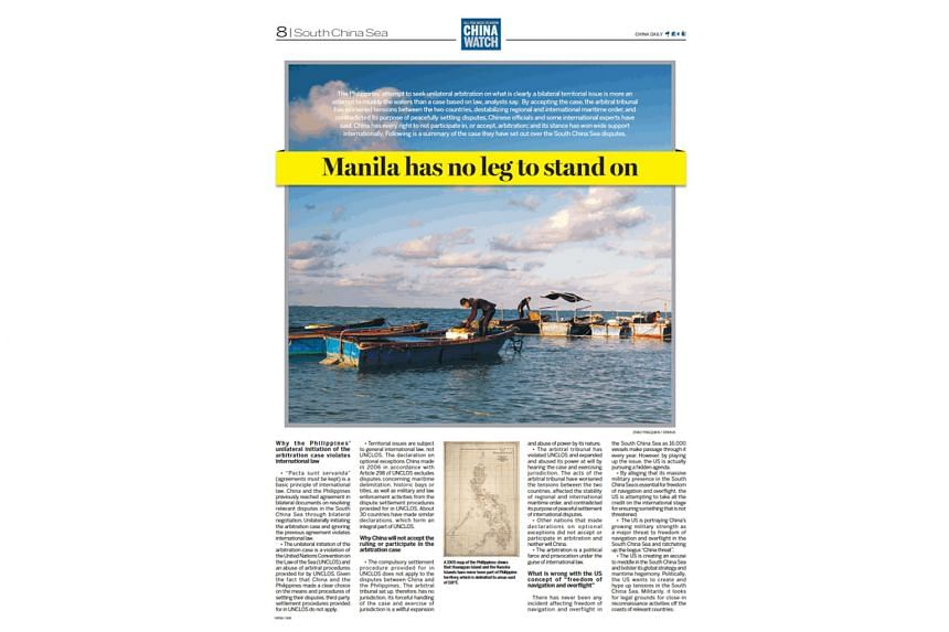 The lift-out had articles which promoted benefits of a free trade deal between Australia and China, and slammed the Philippines.