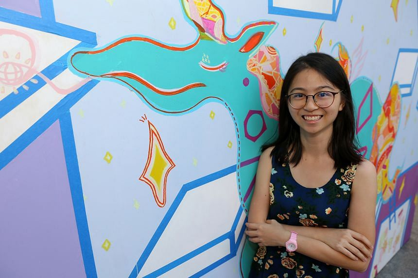Ms Cassandra Koh's work is one of 16 on display at the Street Art showcase at Bugis Junction.