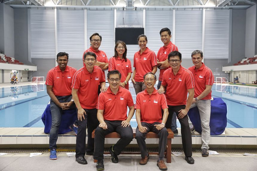 SSA president Lee Kok Choy's (front row, third from right) team to stand for re-election at the June 30 AGM includes two fresh faces - Tan Yew Khuan (back row, second from left) and Bervyn Lee (front row, right).